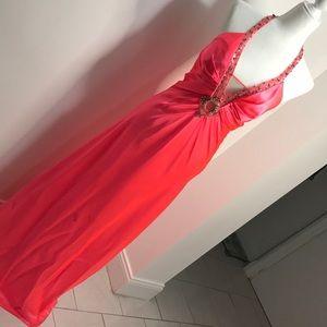 Satin party halter dress